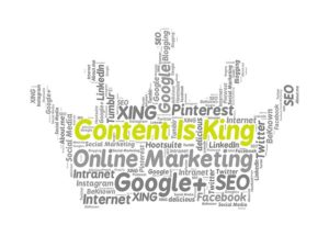 """image that shows """"Content is King"""" as well platforms where we can use content marketing"""