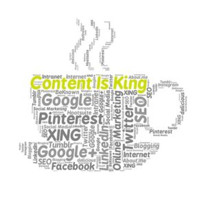 image that says content is king, as well as the types of content and different platforms where you can use it